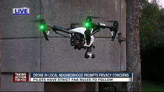 Tampa family concerned after strange drone hovers above their home - Video