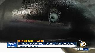 Thieves beginning to drill for gasoline - Video