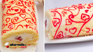 How to make patterned Swiss roll cake - Video