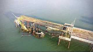 Aerial Footage Shows Aftermath of Colwyn Bay's Victoria Pier Collapse - Video