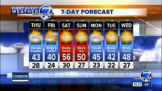 Cooler and breezy in Denver Thursday, with snow continued snow for the mountains