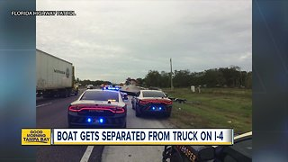 Boat separated from truck, trailer on I-4 due to speeding driver