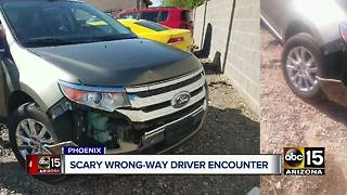 Valley man's car wrecked trying to avoid wrong-way driver in Phoenix - Video