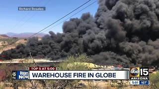 Warehouse catches fire in Globe - Video