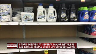 Store shelves at several major retailers are bare as people stock up for coronavirus
