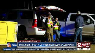 Investigation underway after pipeline hit in Cushing - Video