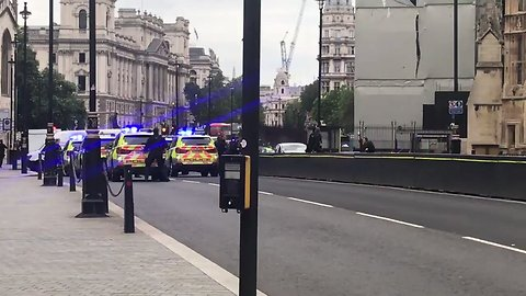 Police Leap Over Barrier, Respond to Crashed Vehicle, Outside Houses of Parliament