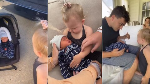 Toddler meets newborn baby brother and it's the cutest moment