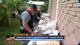 Seminole Heights hosts pop-up Thanksgiving feast for police, community - Video