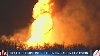 Platte Co. pipeline still burning after explosion - Video