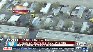 Mobile home fire near Nellis, Las Vegas Boulevard - Video