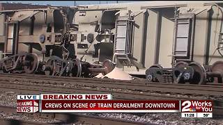 Train derails in downtown Tulsa - Video
