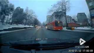 Driver tries to avoid a collision with car and hits bus - Video