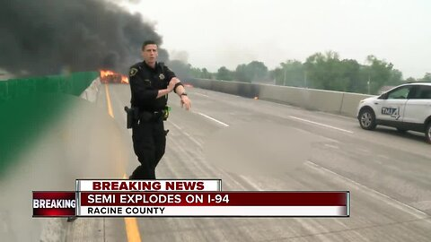Video shows aftermath of semi explosion on I-94
