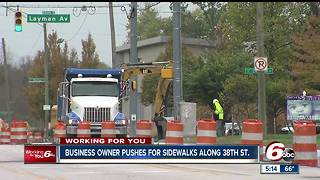 Business owner pushes for sidewalks along 38th Street in Indianapolis - Video