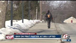 Ball State University lifts ban on fraternity parties