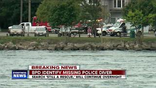 The search for missing police diver continues