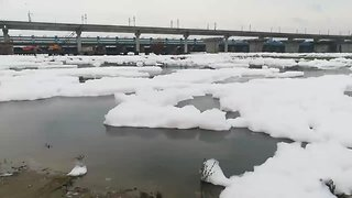 New Delhi River Covered in Thick, Flowing Foam - Video