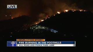 Fire burning in the foothills - Video