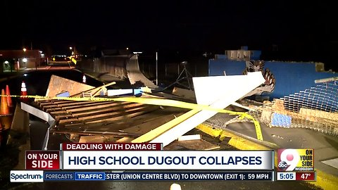 NKY high schools loses baseball dugout in storm