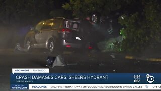 Driver crashes into cars and hydrant in Spring Valley