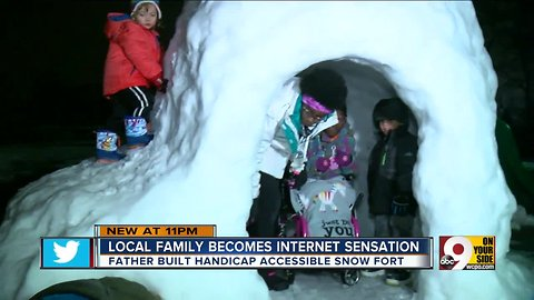 East Price Hill family builds wheelchair-accessible snow fort so everyone can play