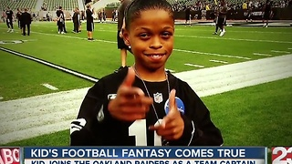 A local football star is making a kid's football fantasy come true - Video