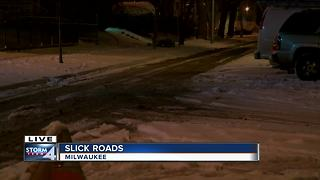 Roads slick and covered in snow - Video