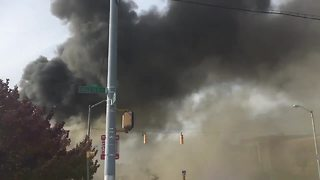 Vacant warehouse catches fire in Baltimore - Video