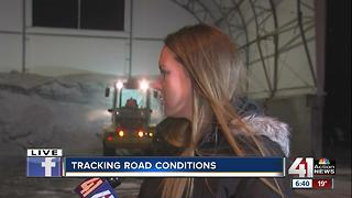 Road crews treat dusting of snow