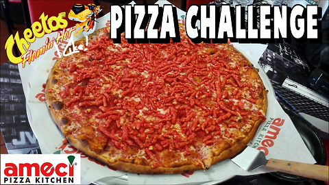 Flamin' Hot Cheetos pizza challenge at Ameci's Pizza Kitchen