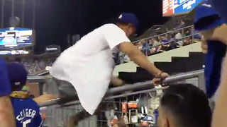 Dodgers Fan CRASHES Astros Bullpen, Gets Carried Out by Police - Video