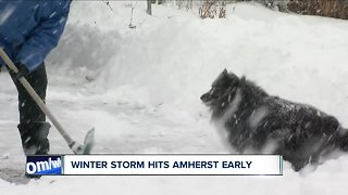 Winter storm hits Amherst early