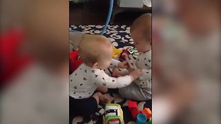 """""""Twin Baby Girls Fight Over A Toy"""""""