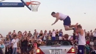Dunk Over a Car Goes Horribly Wrong! - Video