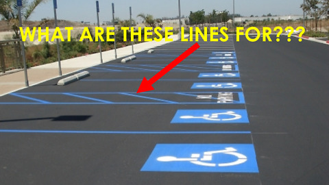 Purpose of painted lines next to handicapped parking spaces