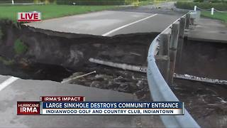 Sinkhole destroys golf and country club entrance