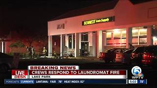 Fire crews respond to laundromat in Lake Park - Video