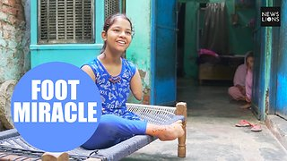 Incredible 12-year-old girl who was born without both arms and only one leg - Video
