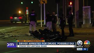 Driver arrested for drugs, possible DUI