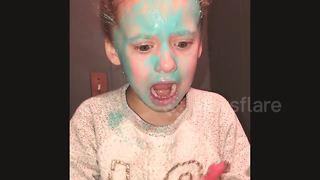 Girl freaks out as she tries first face mask