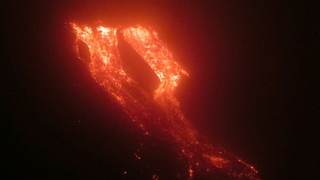 Lava Rolls Down Mount Etna Crater