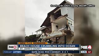 Beachfront home collapses due to beach erosion in Florida