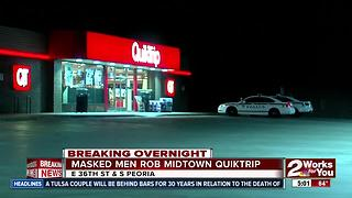Tulsa Police searching for two masked men from midtown Quiktrip robbery - Video