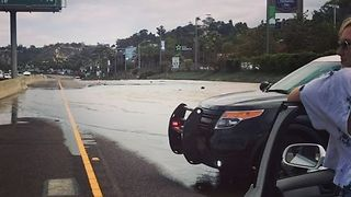 Water Main Break Causes Sinkhole Near San Diego - Video