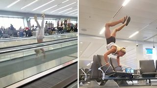 Woman keeps herself entertained with travelator while waiting for flight - Video