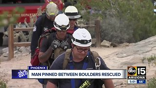 Phoenix fire crews rescue man stuck between two large rocks on South Mountain