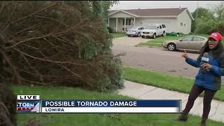 Damage left behind by possible tornado in Lomira