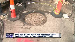Blown manhole cover in Greektown landed on roof of 10 floor hotel - Video