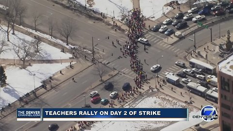 Denver teachers march to Civic Center Park on Day 2 of teachers strike